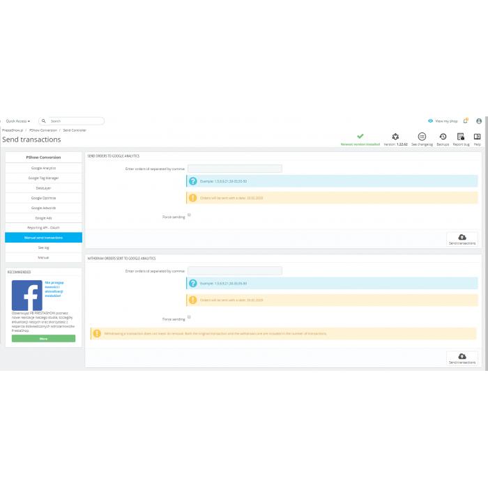 PrestaShop Google Analytics - Konwersja Ads + Google Optimize + Google Tag Manager