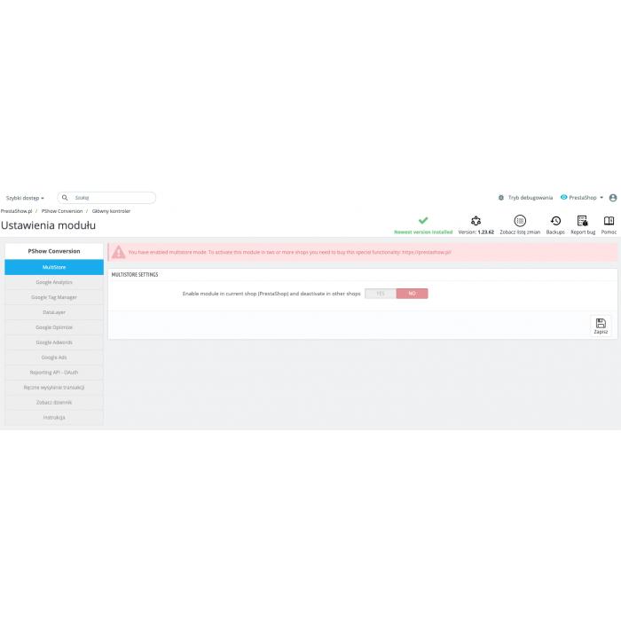 PrestaShop Google Integrator Multistore