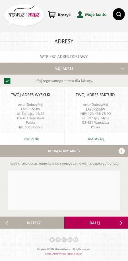 Wersja mobilna - proces zakupowy - adresy