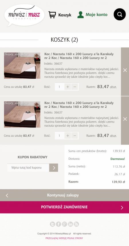 Wersja mobilna - koszyk zakupowy