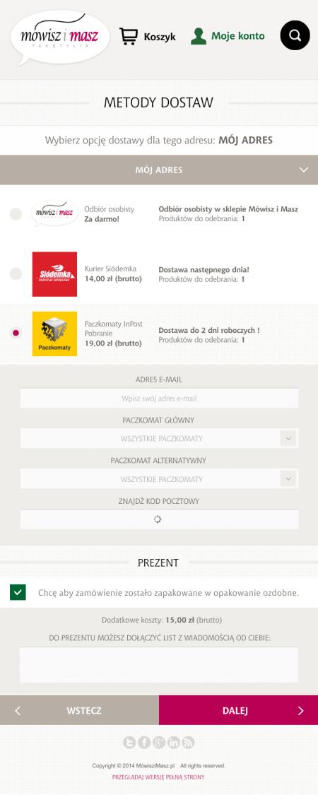 Wersja mobilna - proces zakupowy