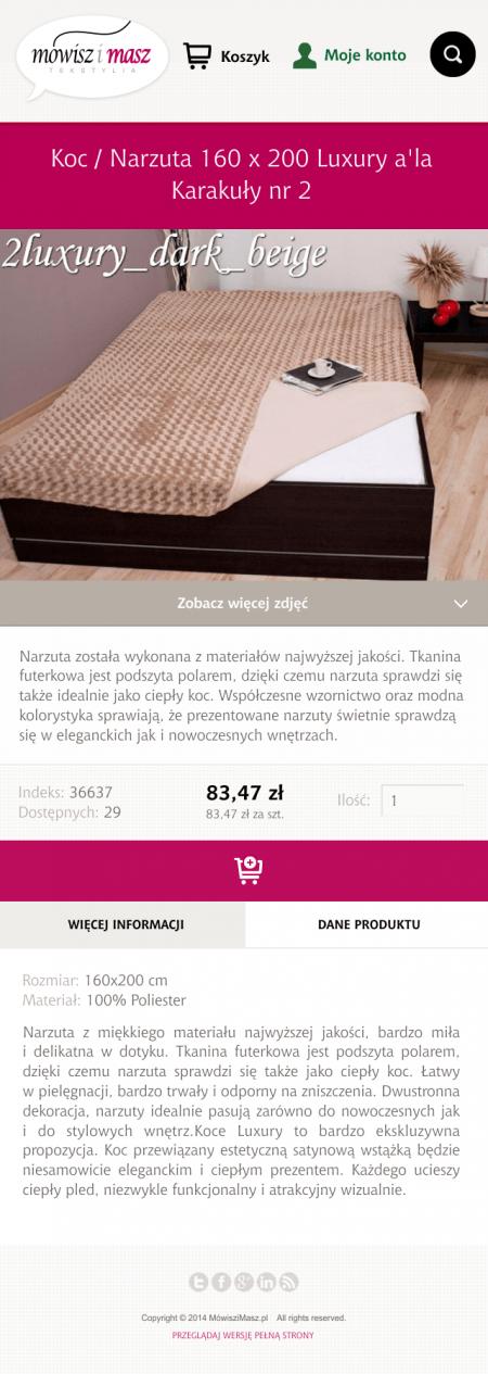 Wersja mobilna - strona produktu
