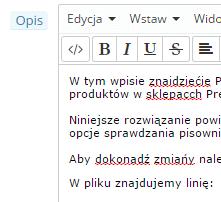 Sprawdzanie pisowni w opisach produktów PrestaShop